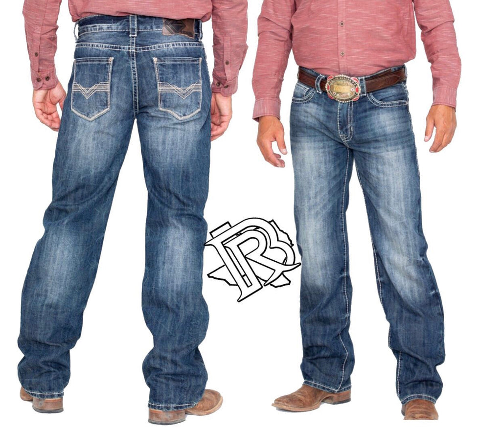 Rock & Roll Cowboy Men's Denim Stitch Double Barrel Straight Jeans M0S9255