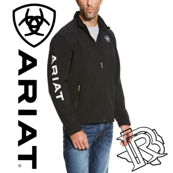ARIAT |MENS BLACK Softshell Jacket WHITE LETTERS