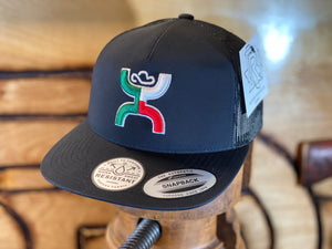 "1909T-BK Desc: ""Boquillas"" Hooey black / black mesh 5-panel trucker with embroidered logo - OSFA"