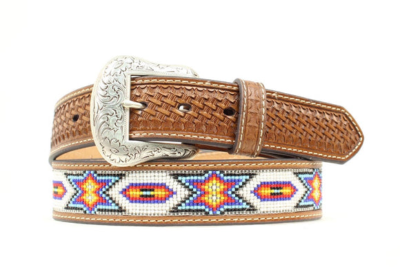 Nocona Mens Belt Tan with Multicolor Beads N2412608