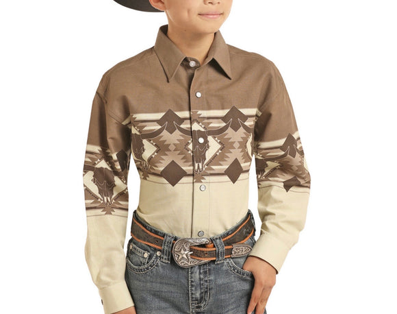 PANDHANDLE: KIDS LONG SLEEVE SHIRT BROWN VINTAGE C0S3053