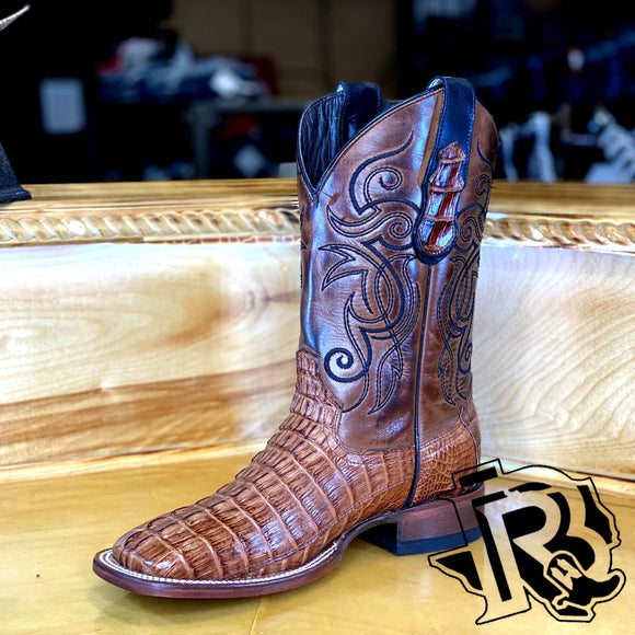 BR : ORIGNAL CAIMAN TAIL TAN SQUARE TOE BOOT