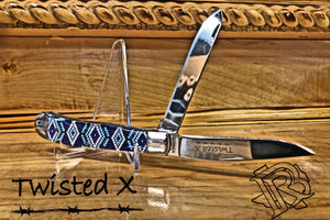Twisted X Knife, Stainless Steel Blue & White Beaded Design Handle