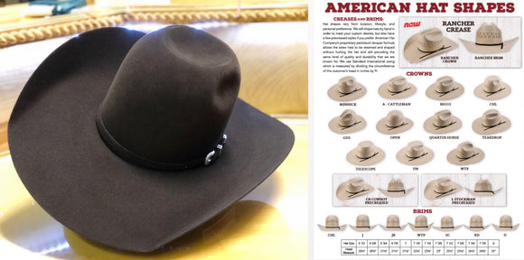 7x AMERICAN HAT CHOCOLATE FELT HAT