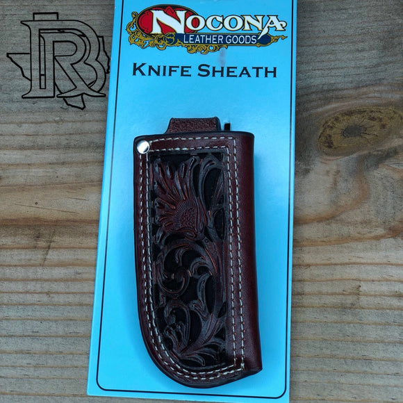 Nocona Leather Knife Sheath - Tan with Black Accent 1804601