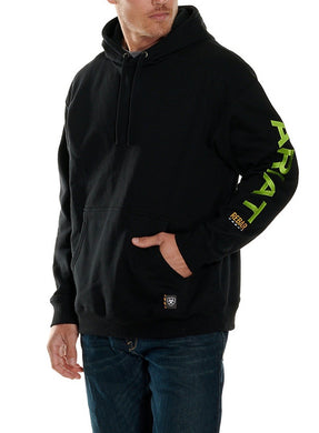 ARIAT MEN'S REBAR BLACK WITH LIME GREEN LOGO PULLOVER HOODIE (10032993)