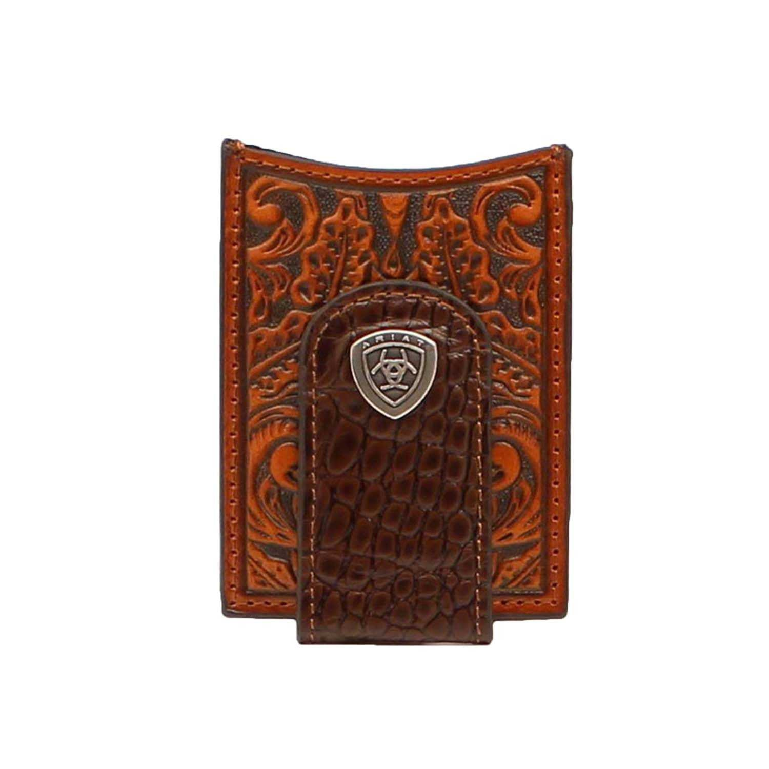 ARIAT MEN WALLET TOOLED LEATHER MONEY CLIP A3542502