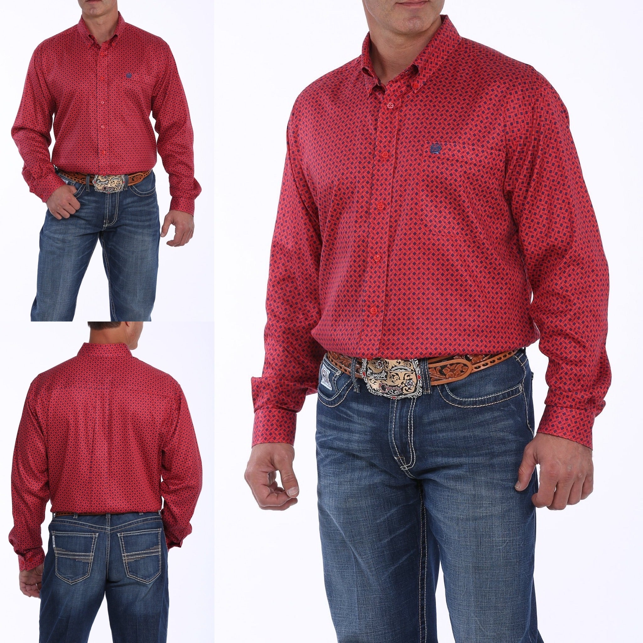 MENS RED AND NAVY GEOMETRIC PRINT BUTTON-DOWN WESTERN SHIRT MTW1104887