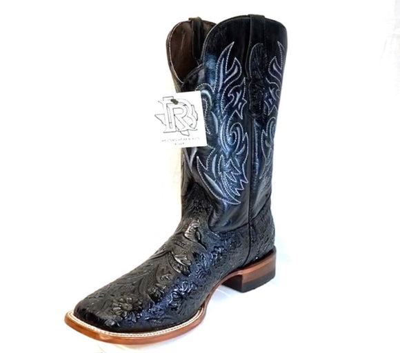 Tooled Leather Boots : BLACK