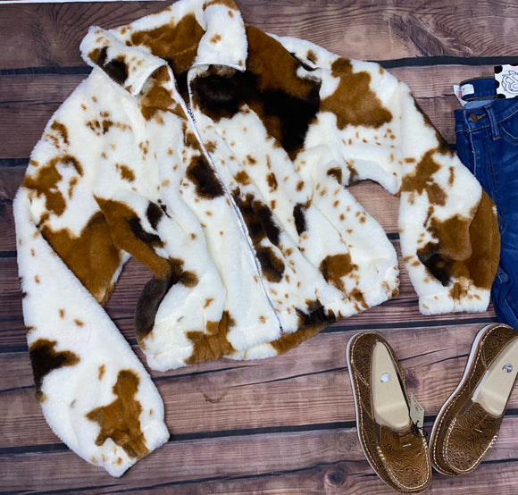 ZIP UP COW PRINT FLEECE