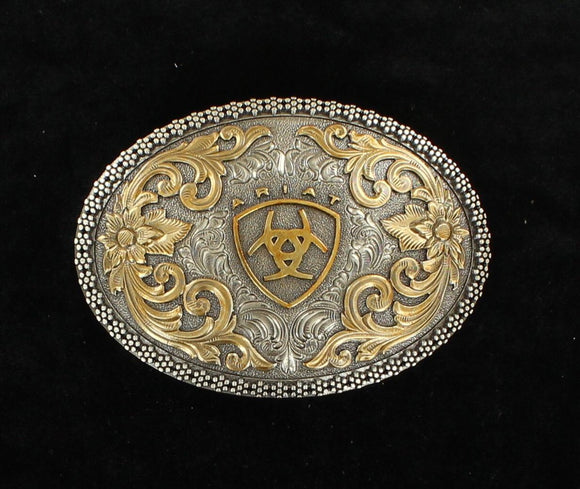 ARIAT ANTIQUE SILVER AND GOLD OVAL BUCKLE A37005