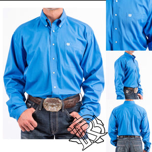 CINCH MEN'S BUTTON-DOWN WESTERN SHIRT SOLID BLUE MTW1103799