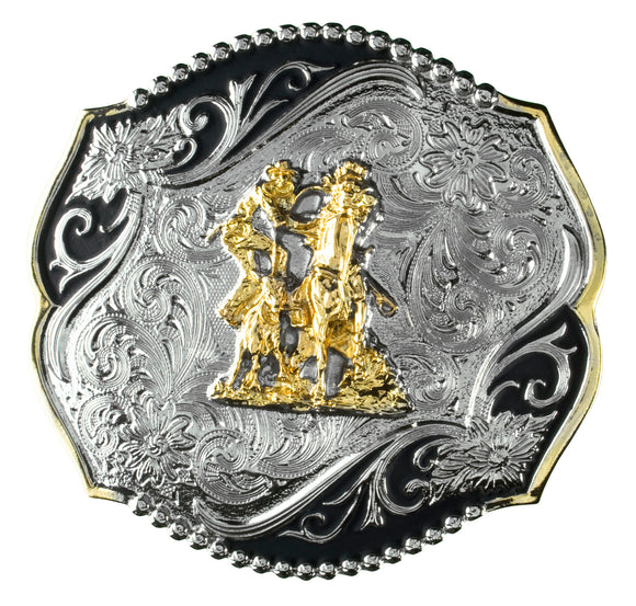 Calf Roper Engraved 2 Tone Buckle by Taylor Brand TBB4000CR