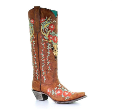 Corral Women's Deer Skull & Floral Embroidery Cowgirl Boots A3620