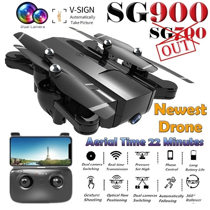 SG900 Drone Folding GPS Smart Follow + Full 1080P HD FPV Wide-Angle Camera  + 360° Rotation + V-Sign + Gesture Video + Real-Time