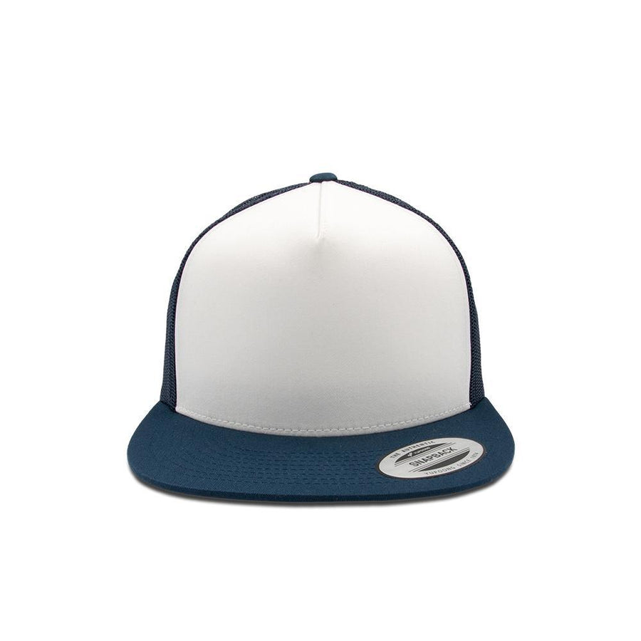 Trucker Snapback Flat Peak - Navy Blue & White