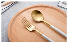 Load image into Gallery viewer, White and Gold Stainless Steel Silverware Set