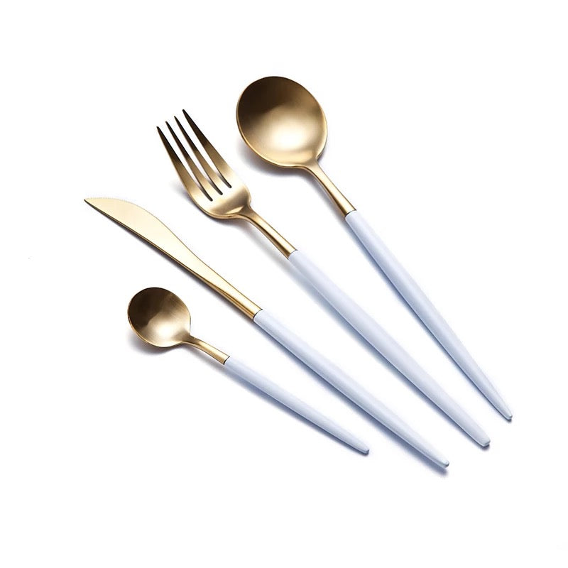 White and Gold Stainless Steel Silverware Set