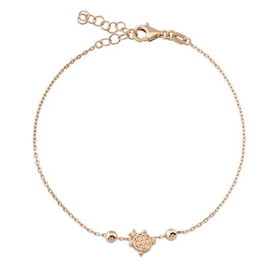 Rose gold plated 925 sterling silver bracelet with tortoise pendant.