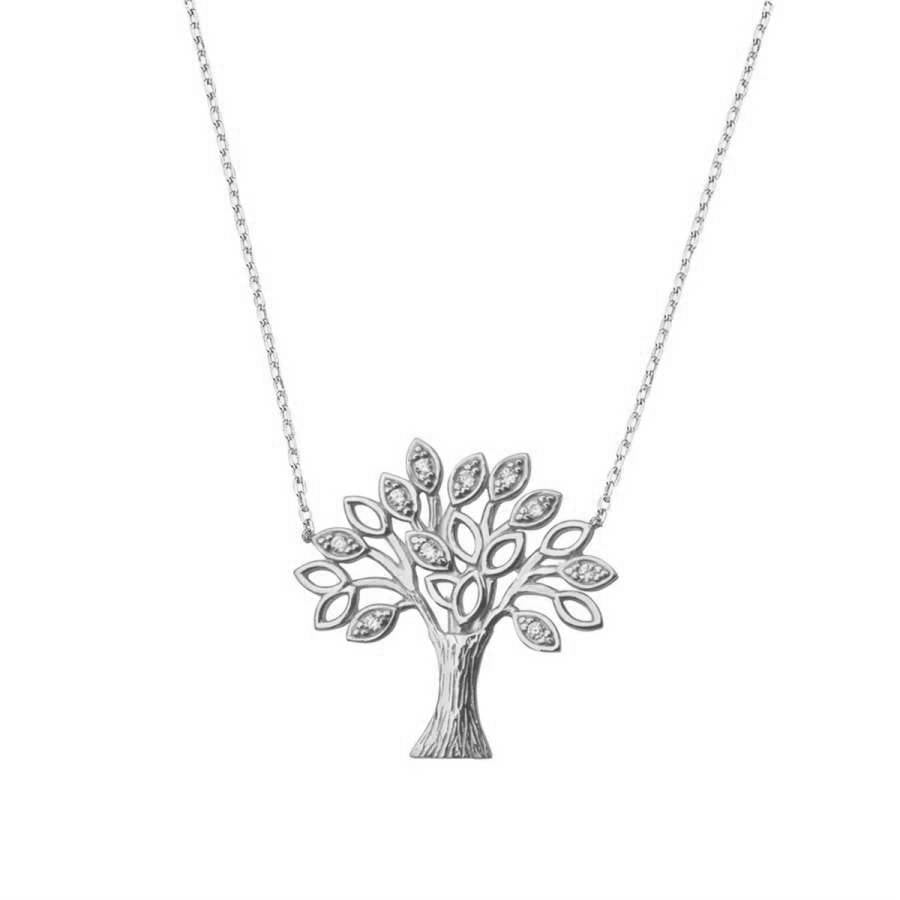 Silver necklace with Tree of Life pendant.