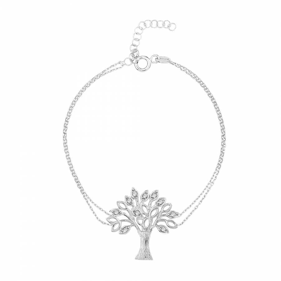 925 sterling silver bracelet with tree of life pendant which has zirconia stones on it.