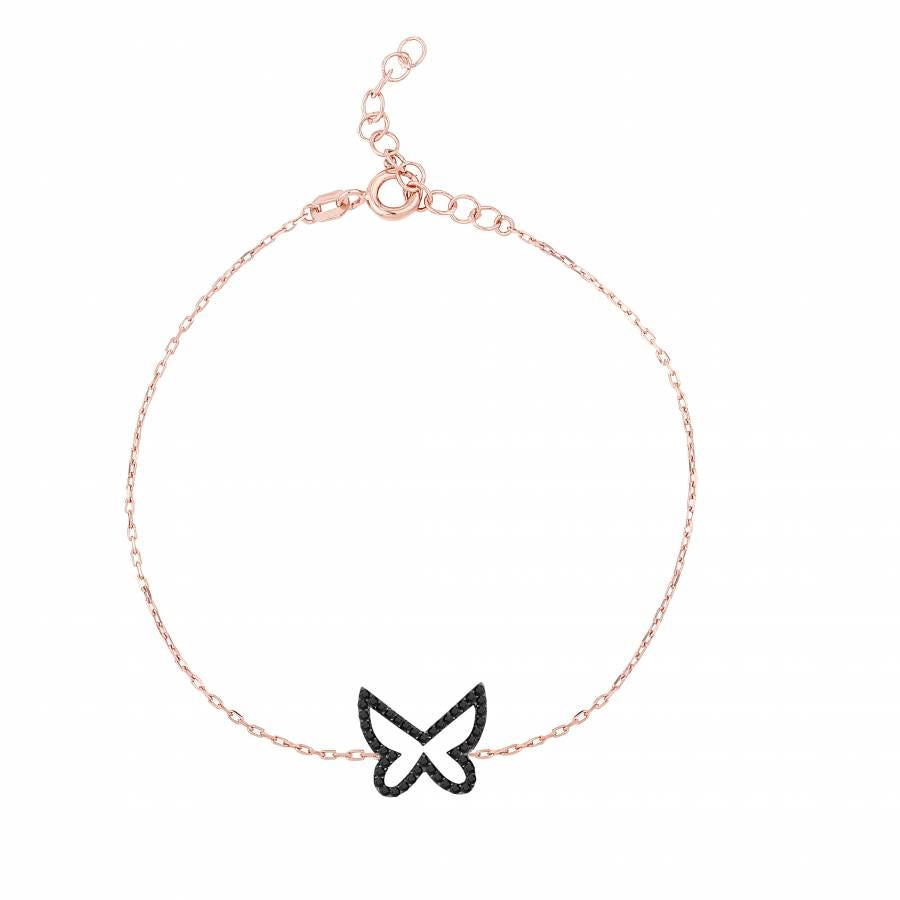 925 sterling silver rose gold plated bracelet with butterfly pendant made of black zirconia stones.