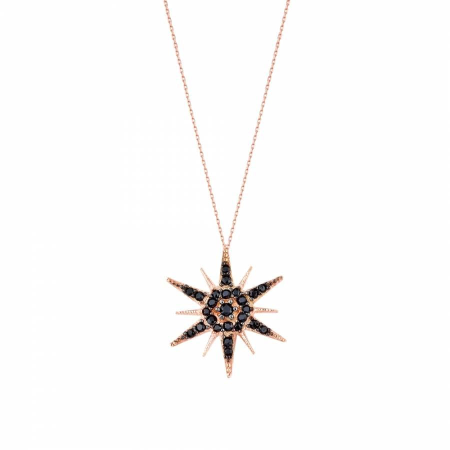Rose gold plated silver necklace with black stones Sirius star pendant.