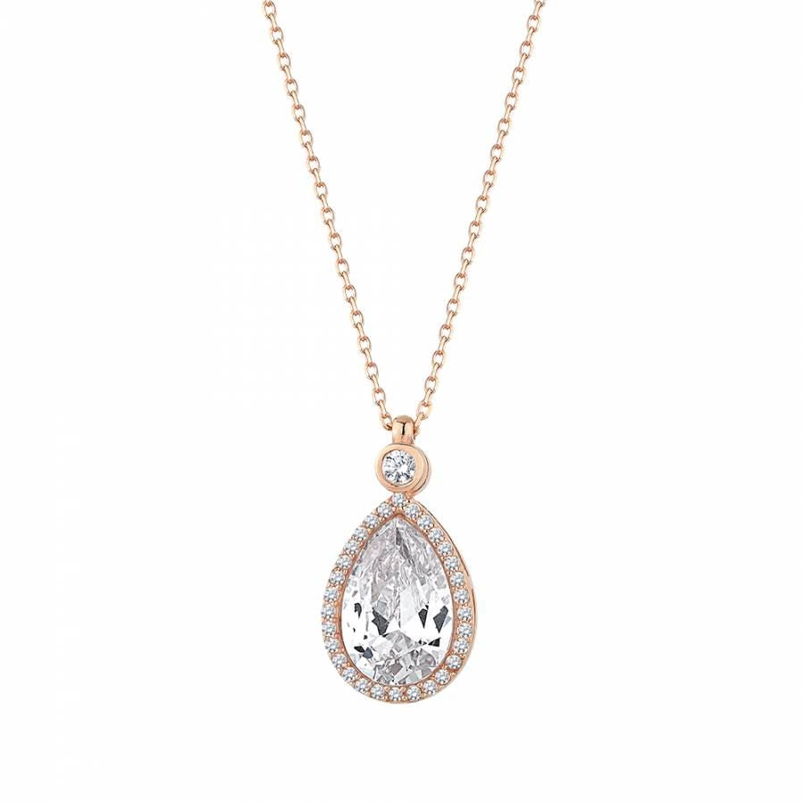 Rose gold plated silver necklace with pear shape pendant which surrounded with tiny zirconia stones.