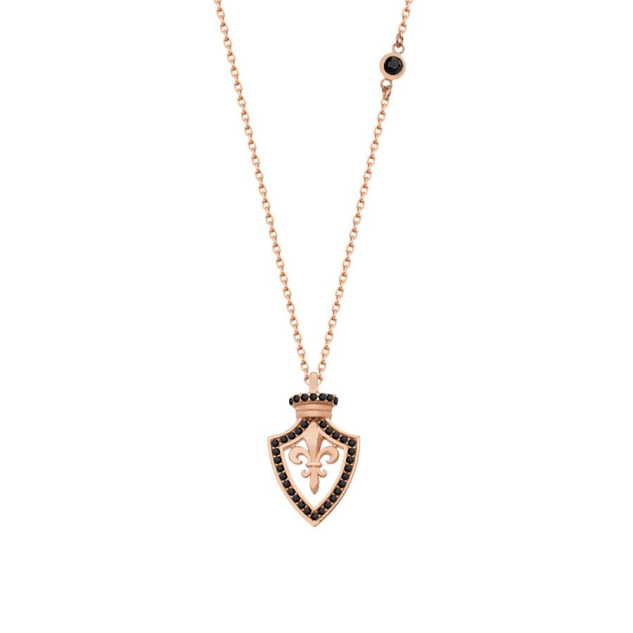 Rose gold plated silver necklace with Fleur-de-lis pendant with black zirconia stones.