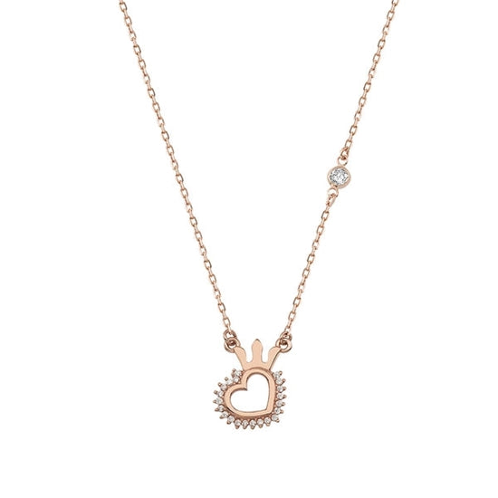 Rose gold plated 925 sterling silver with crown heart pendant.