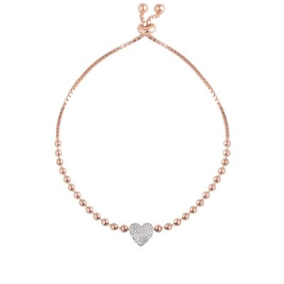Rose gold plated over silver bracelet with heart pendant.