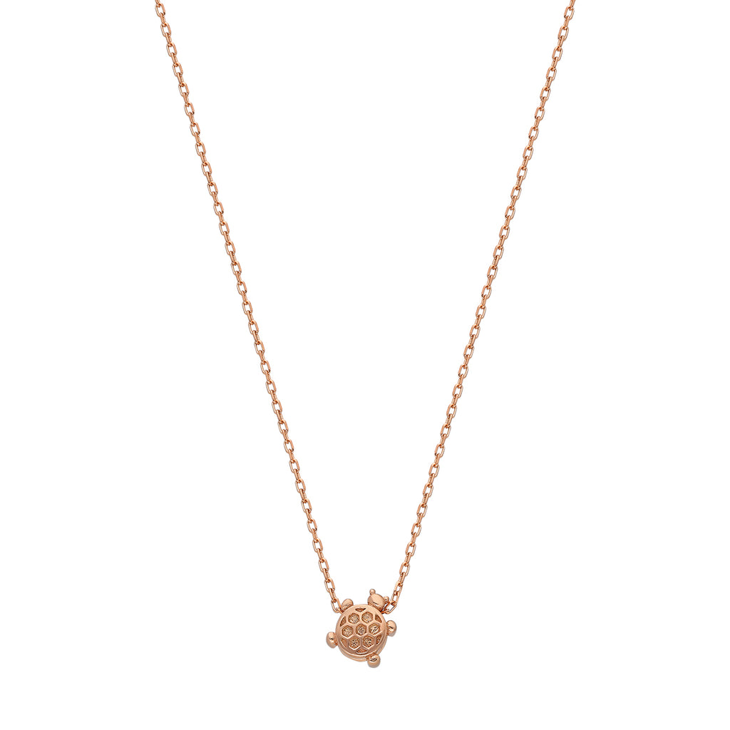 Rose gold plated silver necklace with tortoise pendant.
