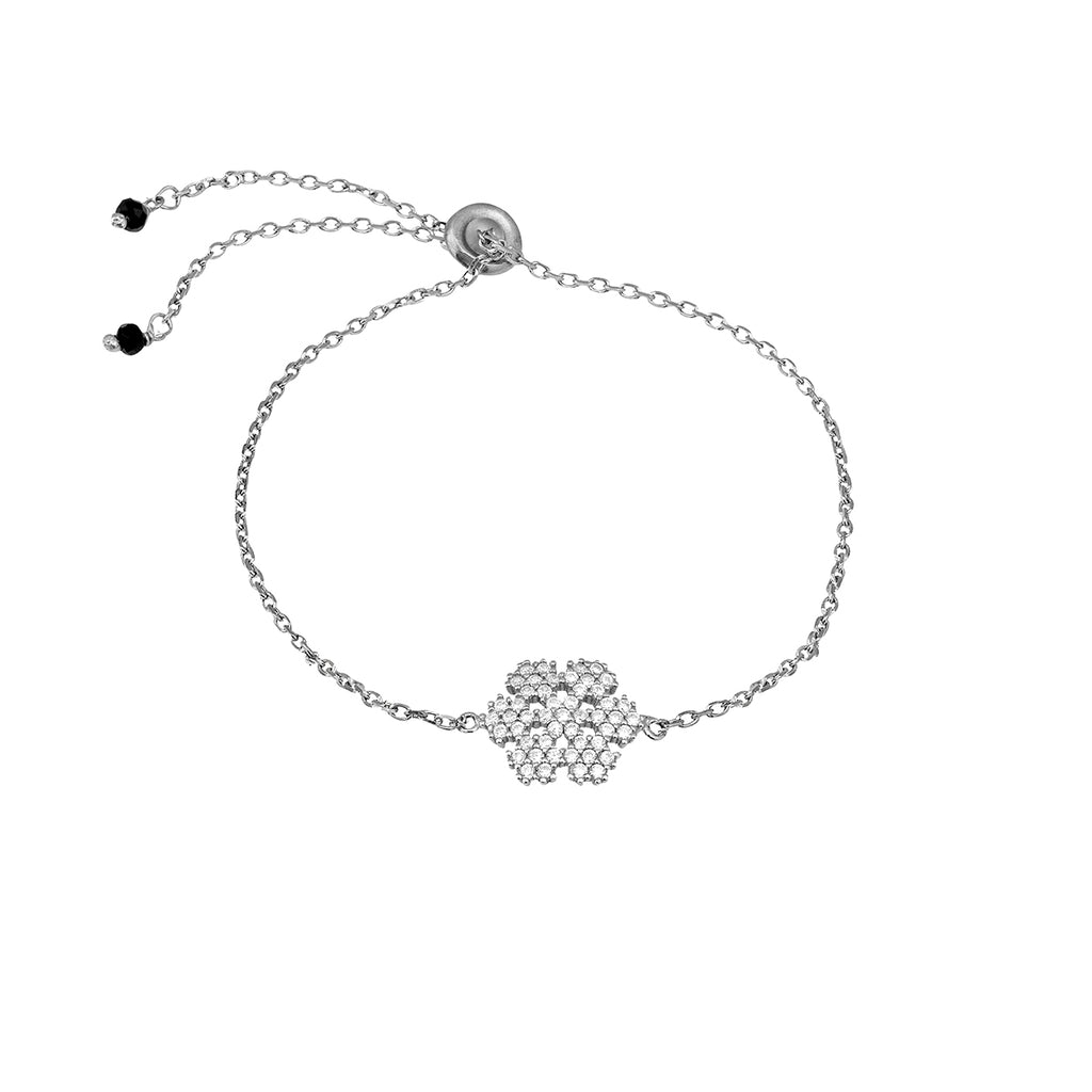 925 sterling silver chain bracelet with a snowflake pendant.
