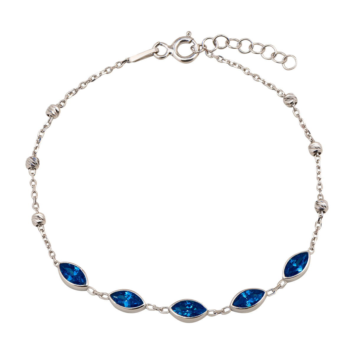 925 Sterling silver bracelet with almond shape beads with navy blue zirconia stones.