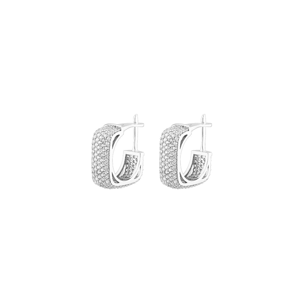 925 Sterling silver rhodium square earrings with tiny zirconia stones.