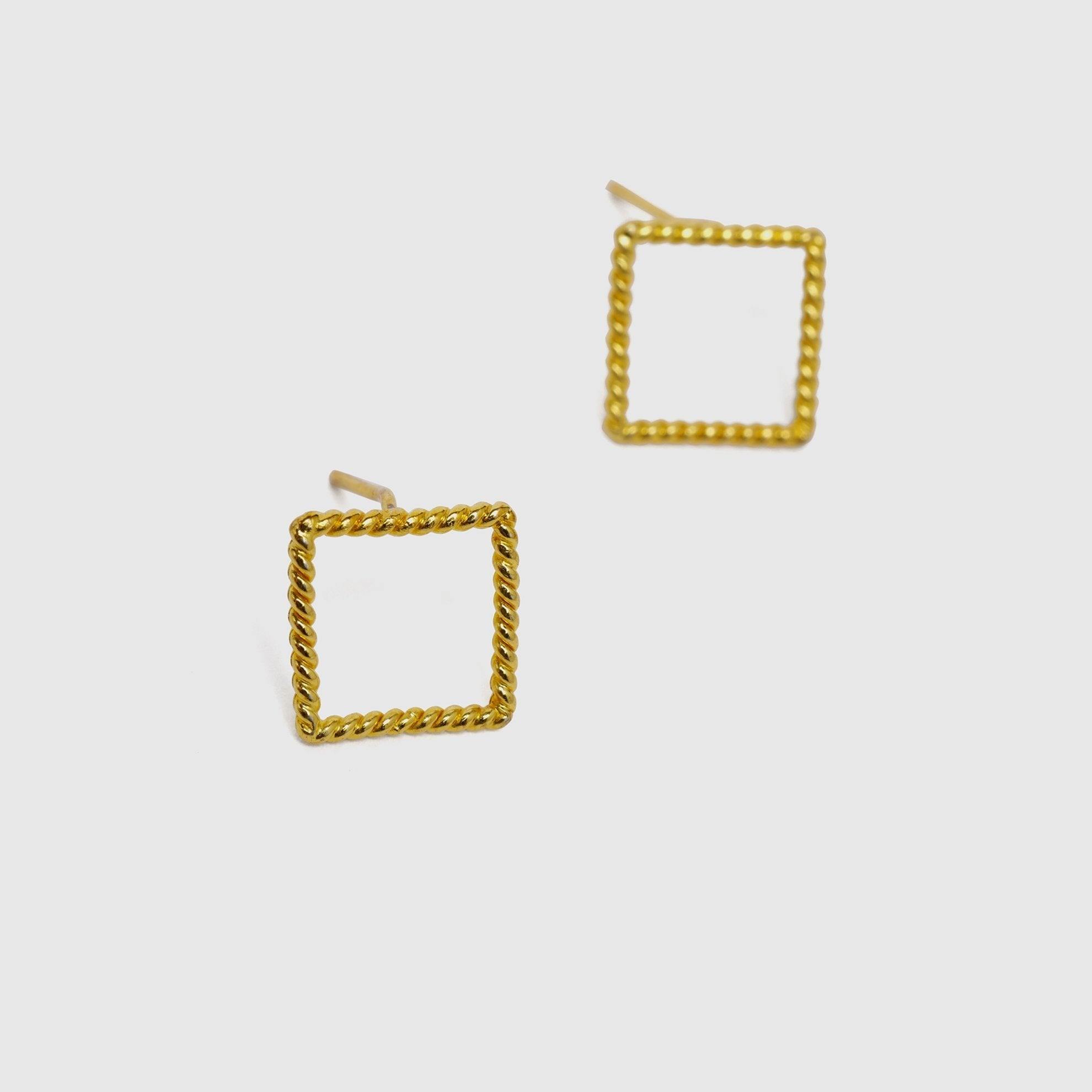 Square Stud Earrings Detailed Look