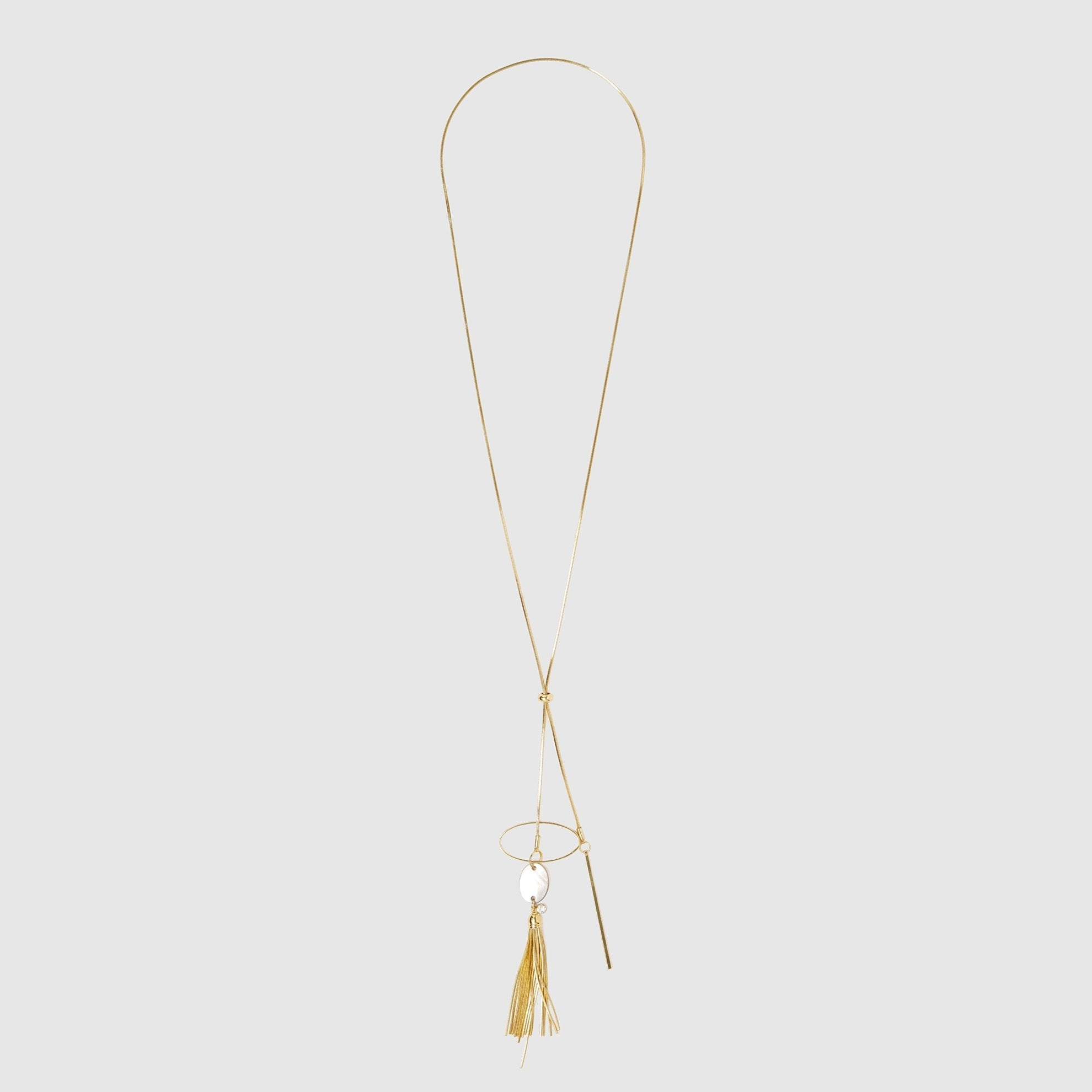 Long Chain, Golden Necklace with Tassel