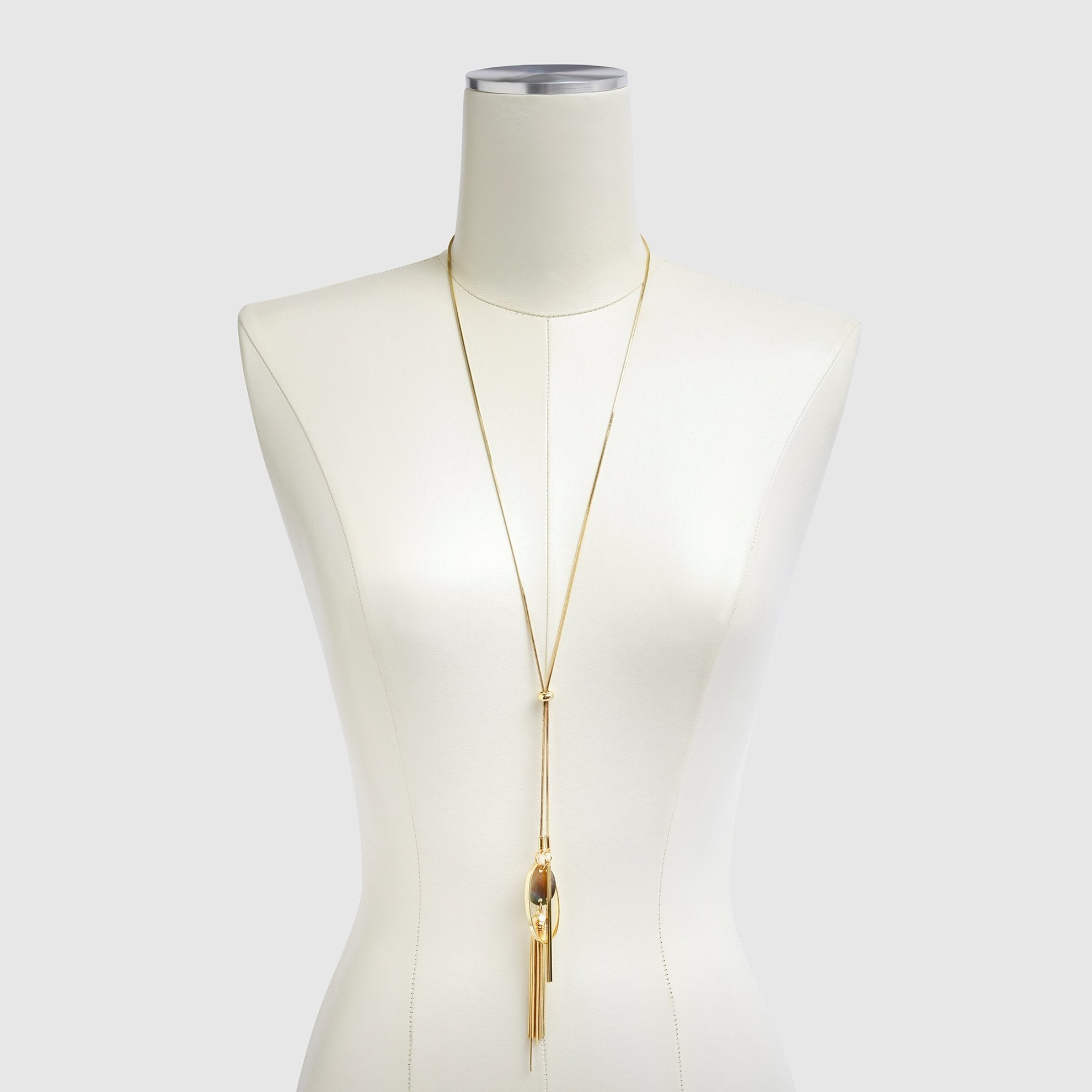 Long Chain Necklace on Dress Form