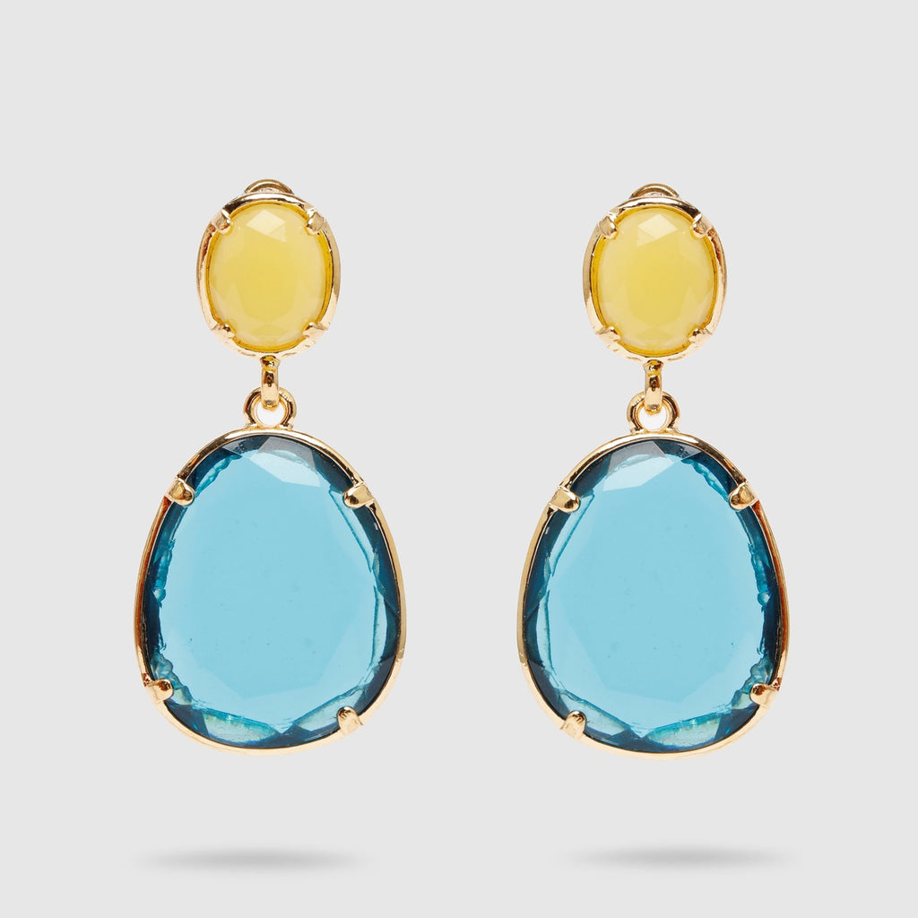 Blue and Yellow Glass Earrings