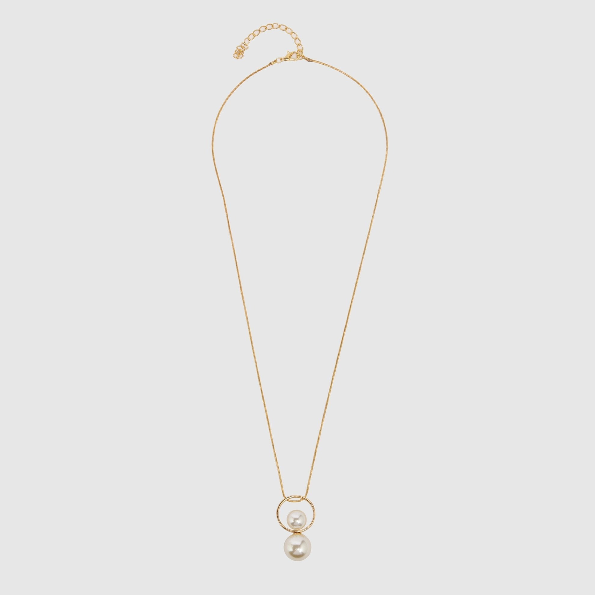 Double Pearl and Circle Detailed Necklace