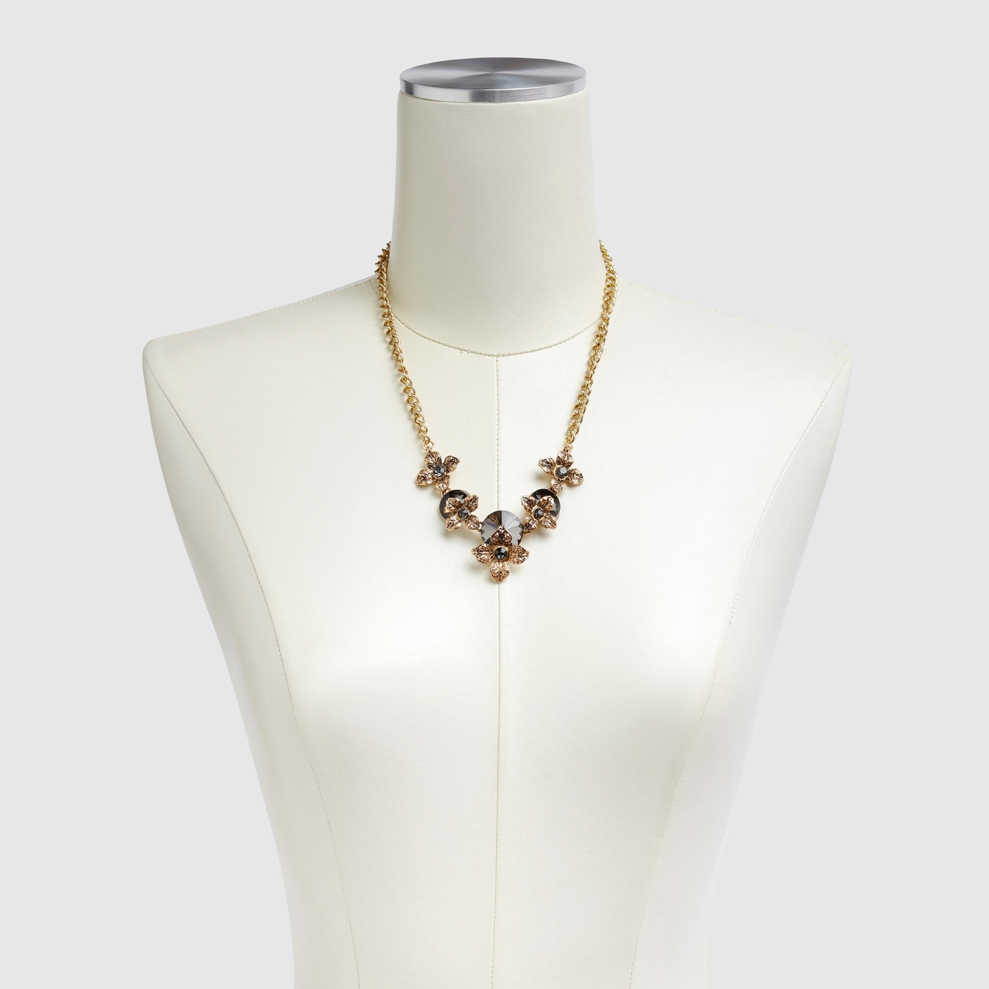 Chic Floral Necklace on Dress Form