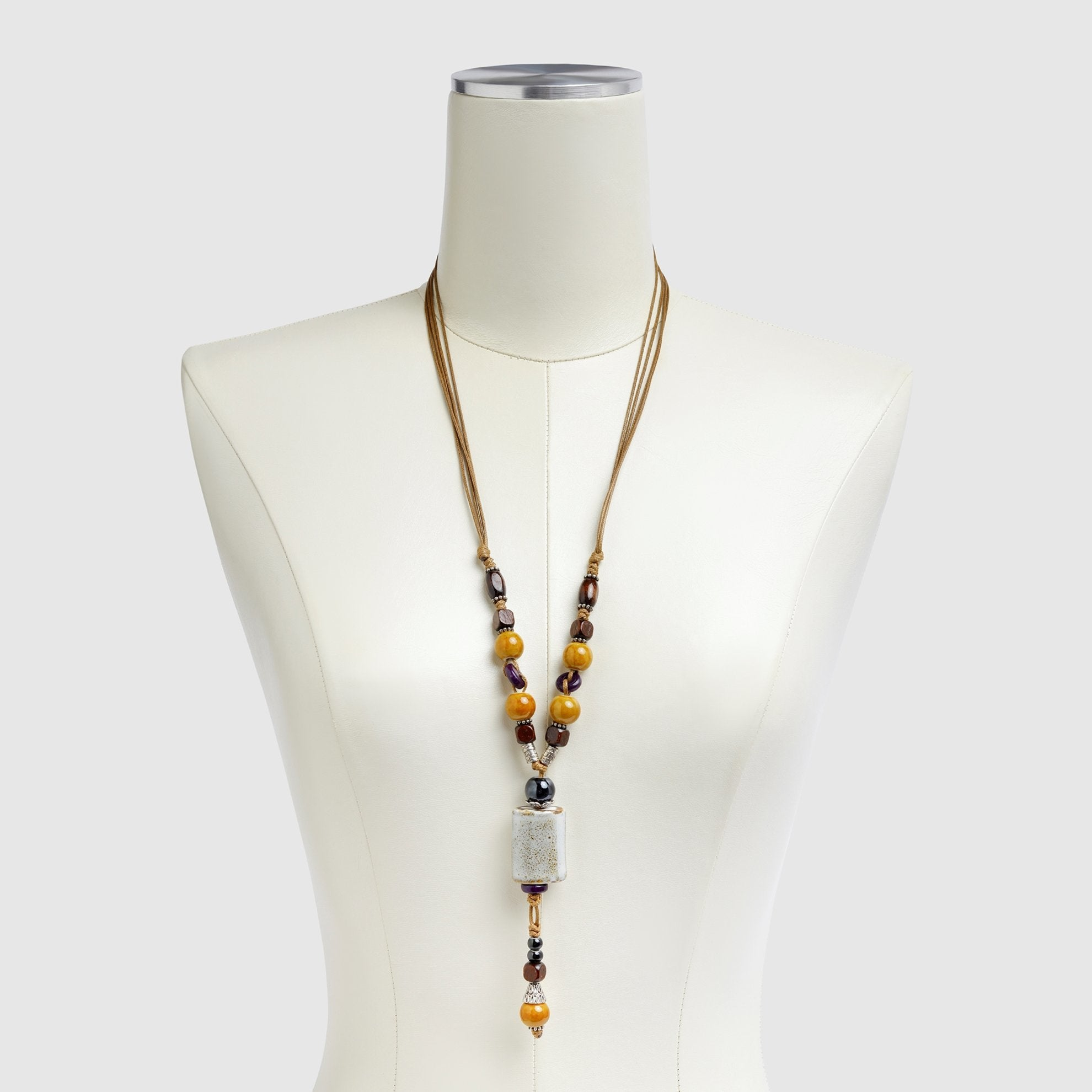 Wood Beaded Necklace on Dress Form