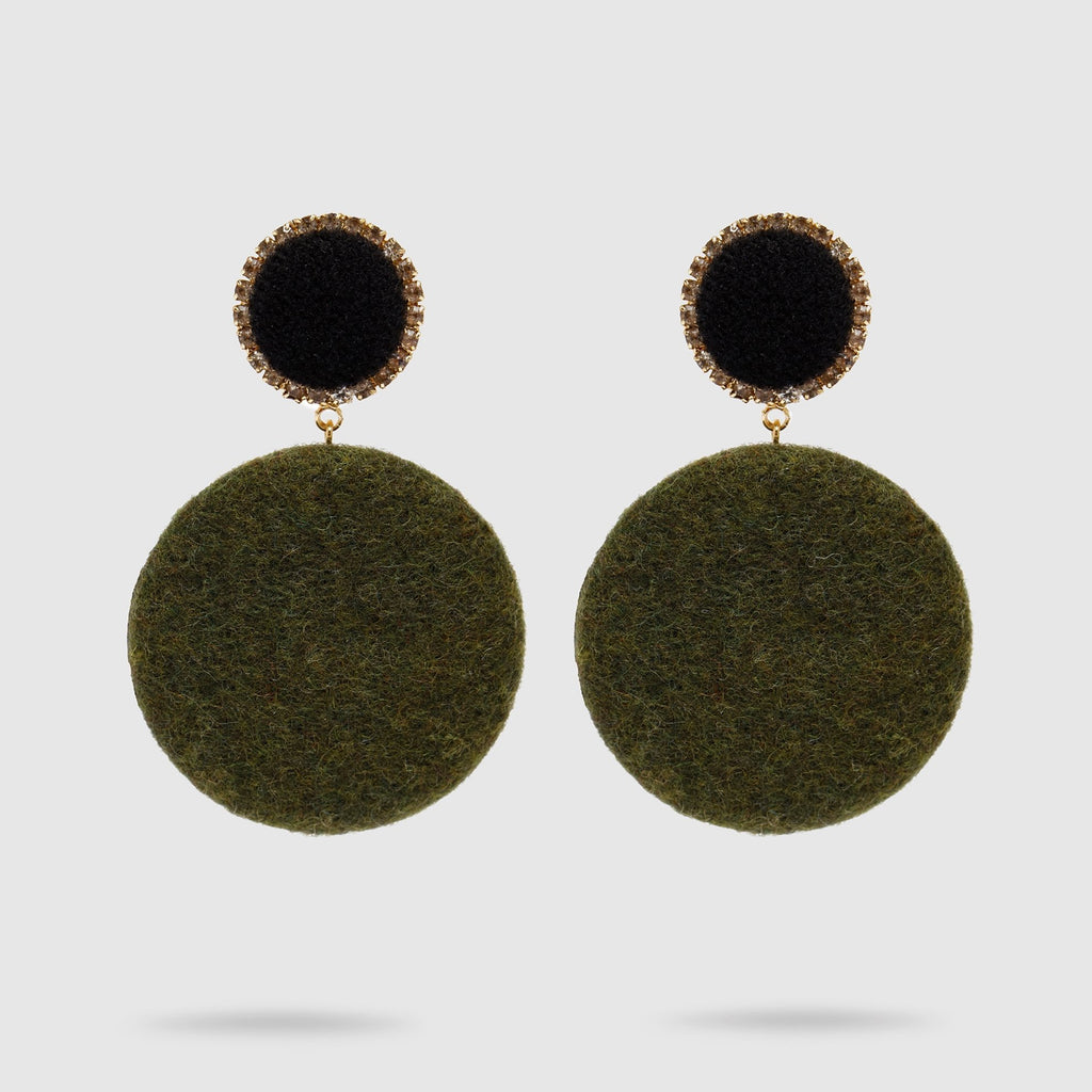 Green Felt Pendant Earrings