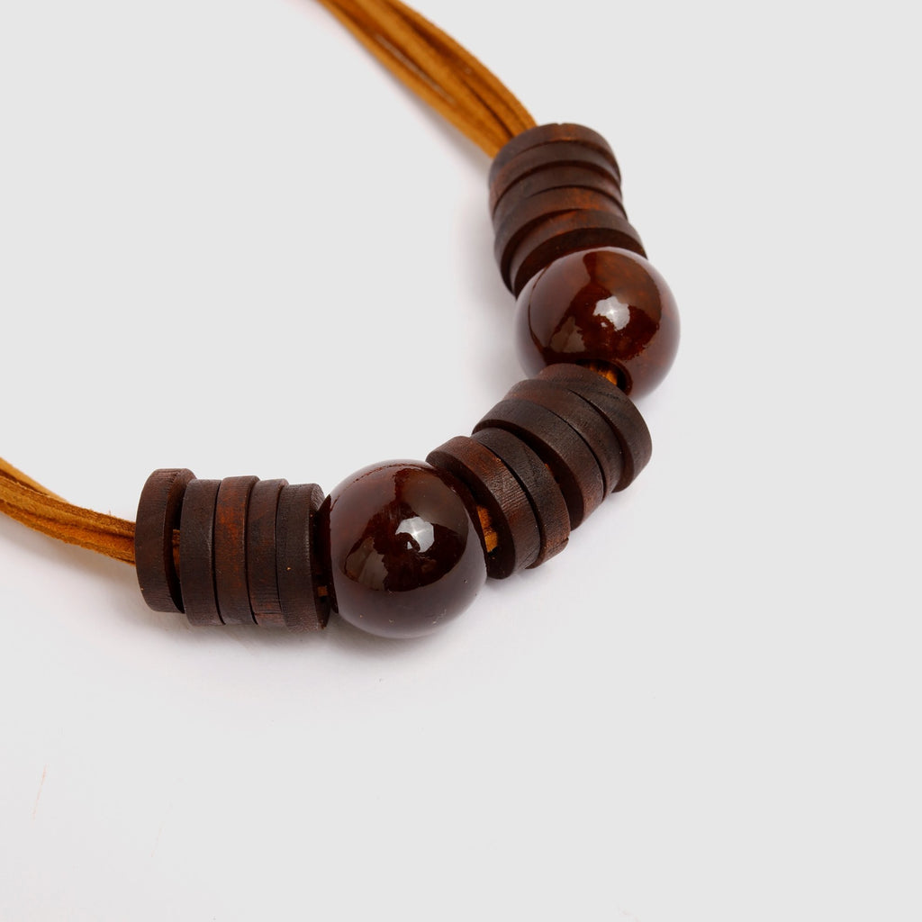 Brown Wood Circles Necklace