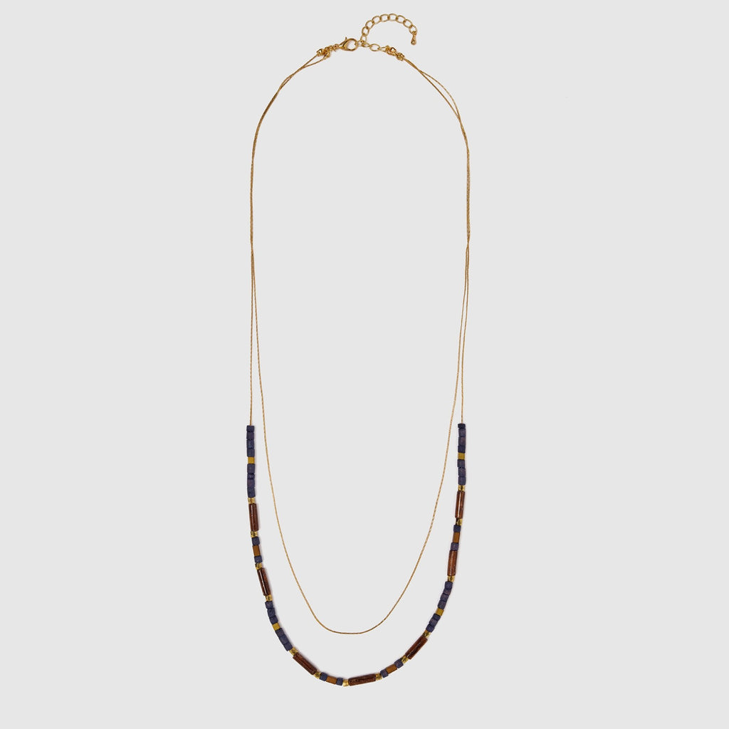 Natural Stone Beads Double Chain Necklace