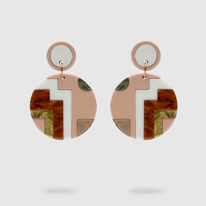 Asymmetrical Circle Pendant Earrings