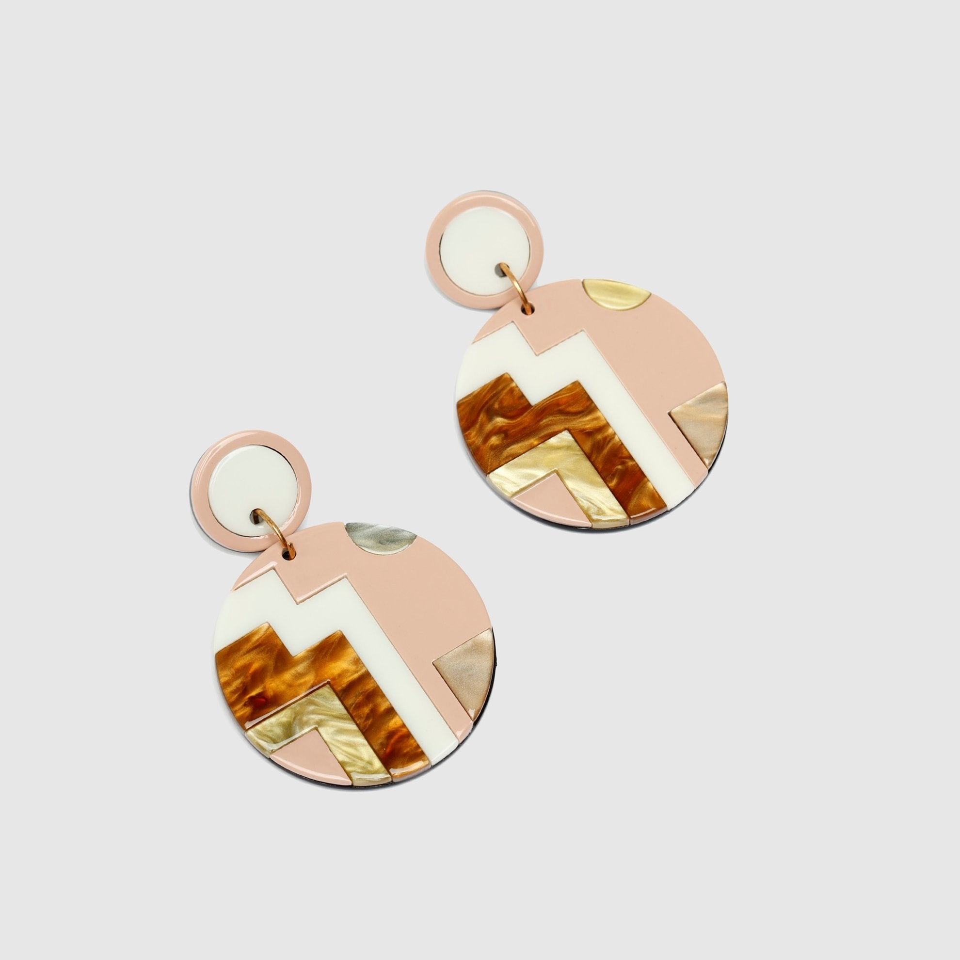 Asymmetrical Powder Pink Brown Earrings