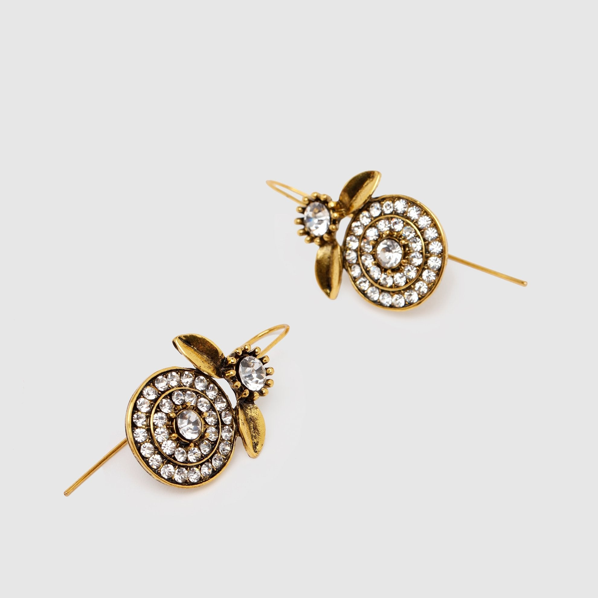Golden White Stone Earrings Stud Detail