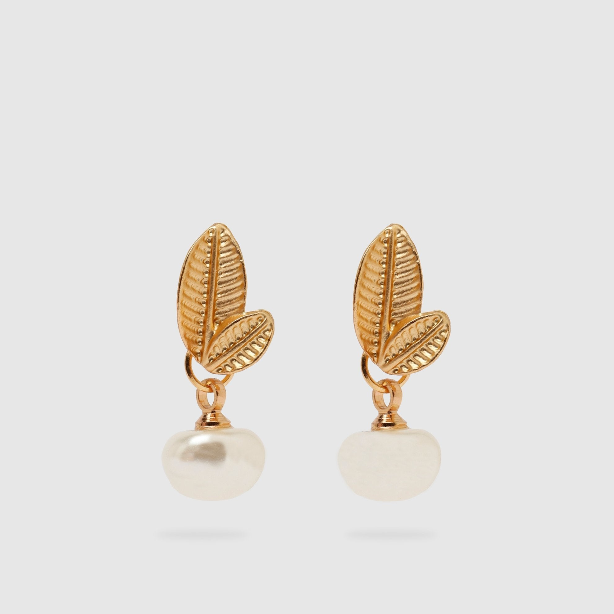 Faux Pearl Earrings with Golden Leaves