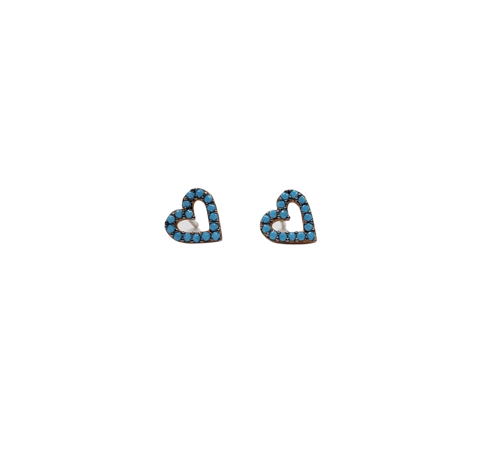 Turquoise zirconia, heart shaped stud earrings.
